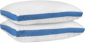 Gusseted-Quilted-Pillow-2-Pack-Hypo-Allergenic-Queen-amp-King-Size-Utopia-Bedding