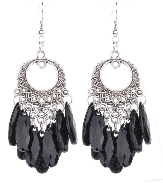 Hot Sale New Elegant Silver Plated Black Color Hook Drop Pendant Dangle Earrings