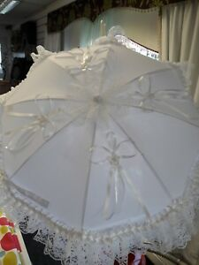 White Parasol Hand Decorated with White Lace and Satin Ribbons Romany