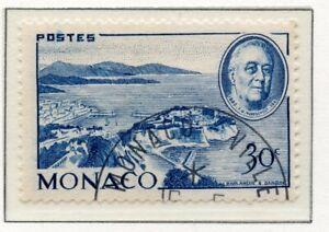 En Herbe Timbre De Monaco Oblitere N° 296 Hommage Au President Roosevelt