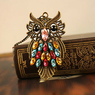 Retro Colorful Rhinestone Owl Pendant Big Size Necklace Long Chain New Style