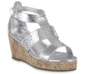 Girls SILVER WEDGE SANDALS, JULIA by