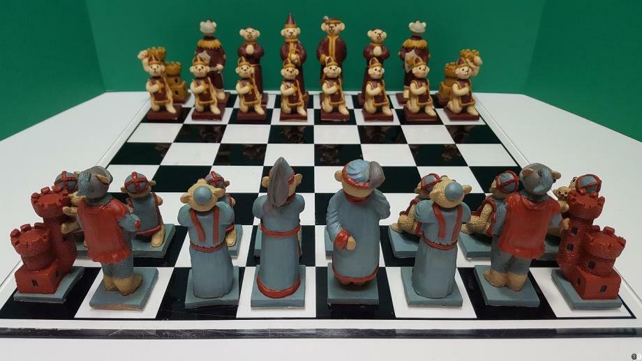 G840  holidays Vintage, sällsynta, mycket söta, skräddarsydda björnar Schackuppsättning