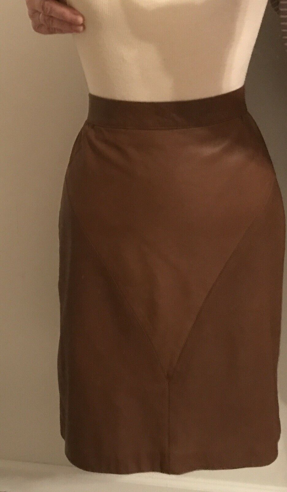 """Augustina New Mexico  Leather Sz 14  Two Tone Brown Pencil Skirt Waist 31"""" Lined"""