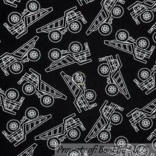 BonEful Fabric FQ Cotton Quilt Black White B&W Dump Truck Toy L Construction Boy