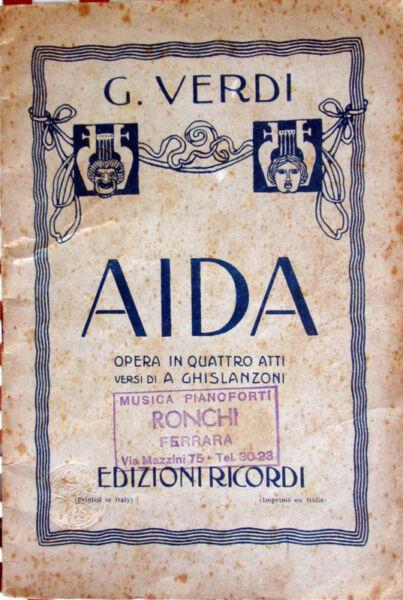 1936 Plegable Teatro-giuseppe Verdes -aida- A. Ghislanzoni-opera En Cuatro Actos