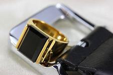 BIG da uomo 10mm 18k placcato oro con pietra nera Anello tatanium Taglia S ali612