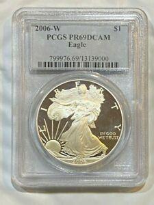2006-W-Proof-Silver-Eagle-Dollar-1-oz-silver-Coin-PCGS-PF69-Deep-Cameo
