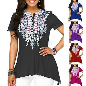 Women-Short-Sleeve-T-Shirt-Tops-Fahion-Loose-Fit-Tunic-Casual-Summer-Blouse-Tee