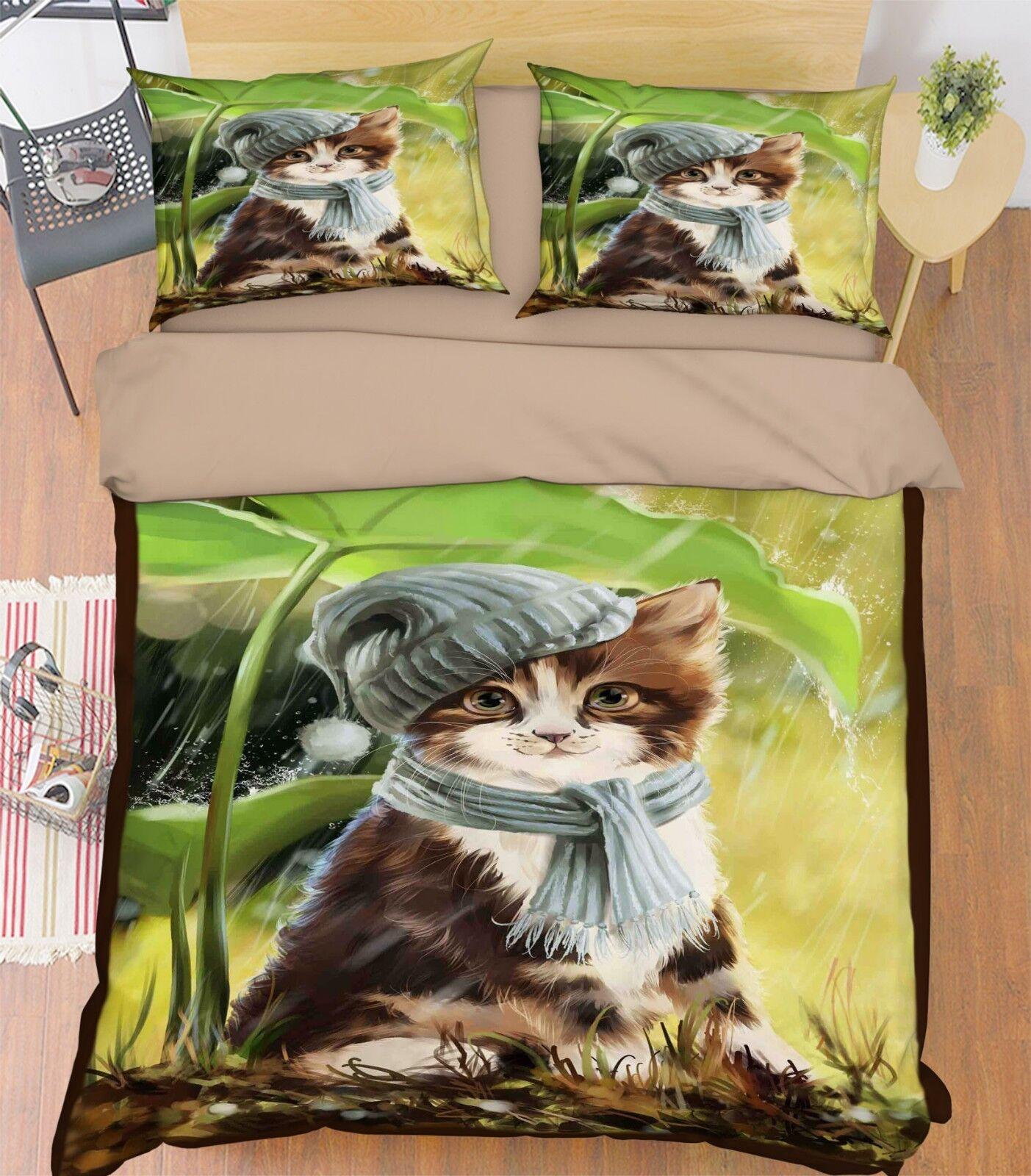 3D Painted Cat 578 Bed Pillowcases Quilt Duvet Cover Set Single King UK Summer