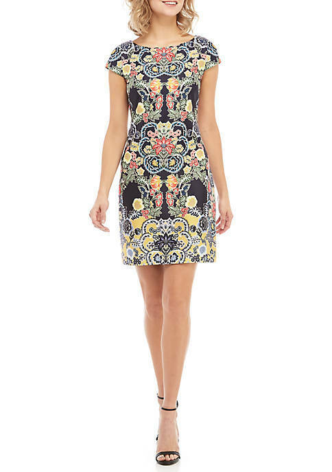 Vince Camuto Cap Sleeve Printed Scuba Shift Dress Woman Size 6 12 14 NWT