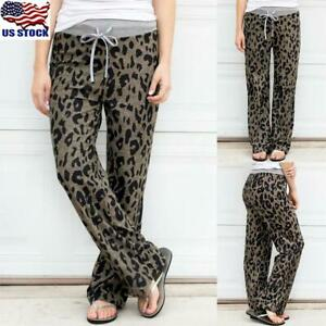 Women-Leopard-Print-Casual-Trousers-Ladies-High-Waist-Lace-Up-Long-Pants-Bottoms