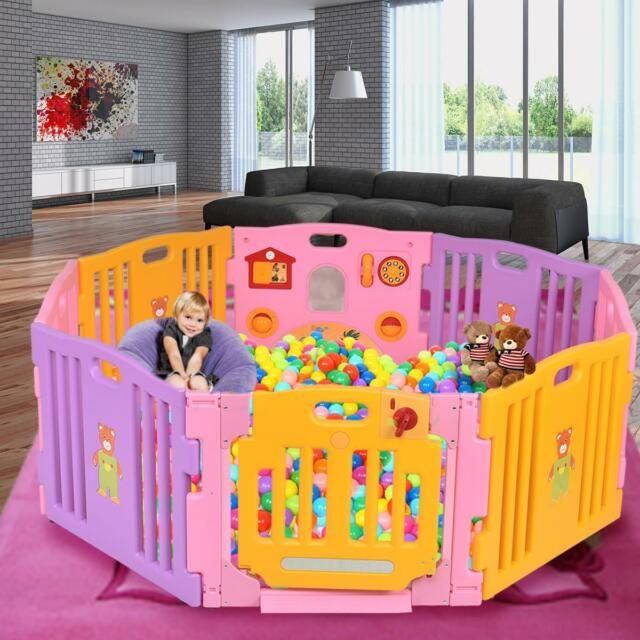 8 Side Baby Playpen Activity Play Pen Kids Playard Room Divider With Basket
