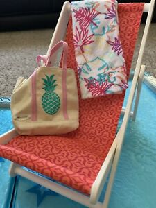 American-Girl-Accessories-Lot-Beach-Chair-and-Pool-Towel-Ring-Toss