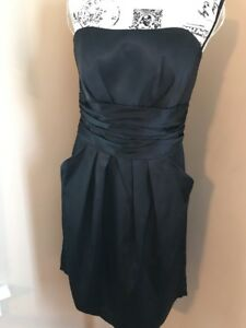Davids-Bridal-Black-Satin-Short-Bridesmaid-Dress-with-Pockets-Women-s-10