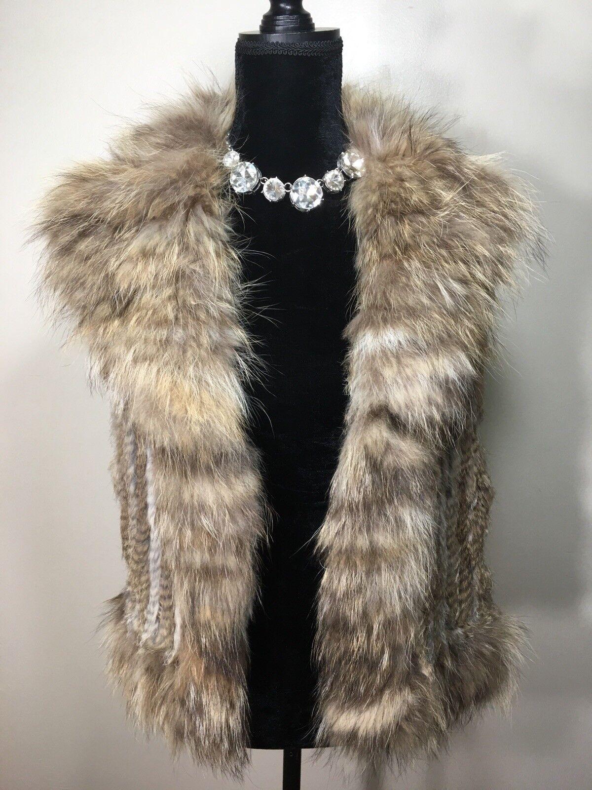 GWBG Womens Fur Rabbit And Fox Vest Size M L