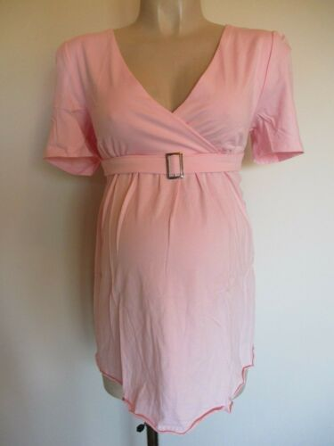 GIGGLES BABY PINK MATERNITY BUCKLE TUNIC T-SHIRT TOP  12 14 16 18 20 NEW