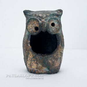 Vintage Cast Iron Owl Ashtray Japan Green Gold Mid Century Art Object Candle