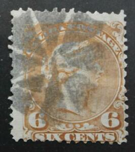 Canada-27a-Used-Large-Queen-Yellow-Brown-Fancy-Cancel-No-Tears-Or-Thins