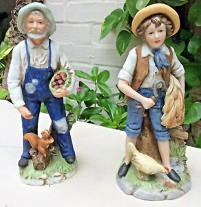 2-Vintage-8-034-Homco-Porcelain-Figurines-Country-Farmer-1409-Young-Boy-Farmer-8881