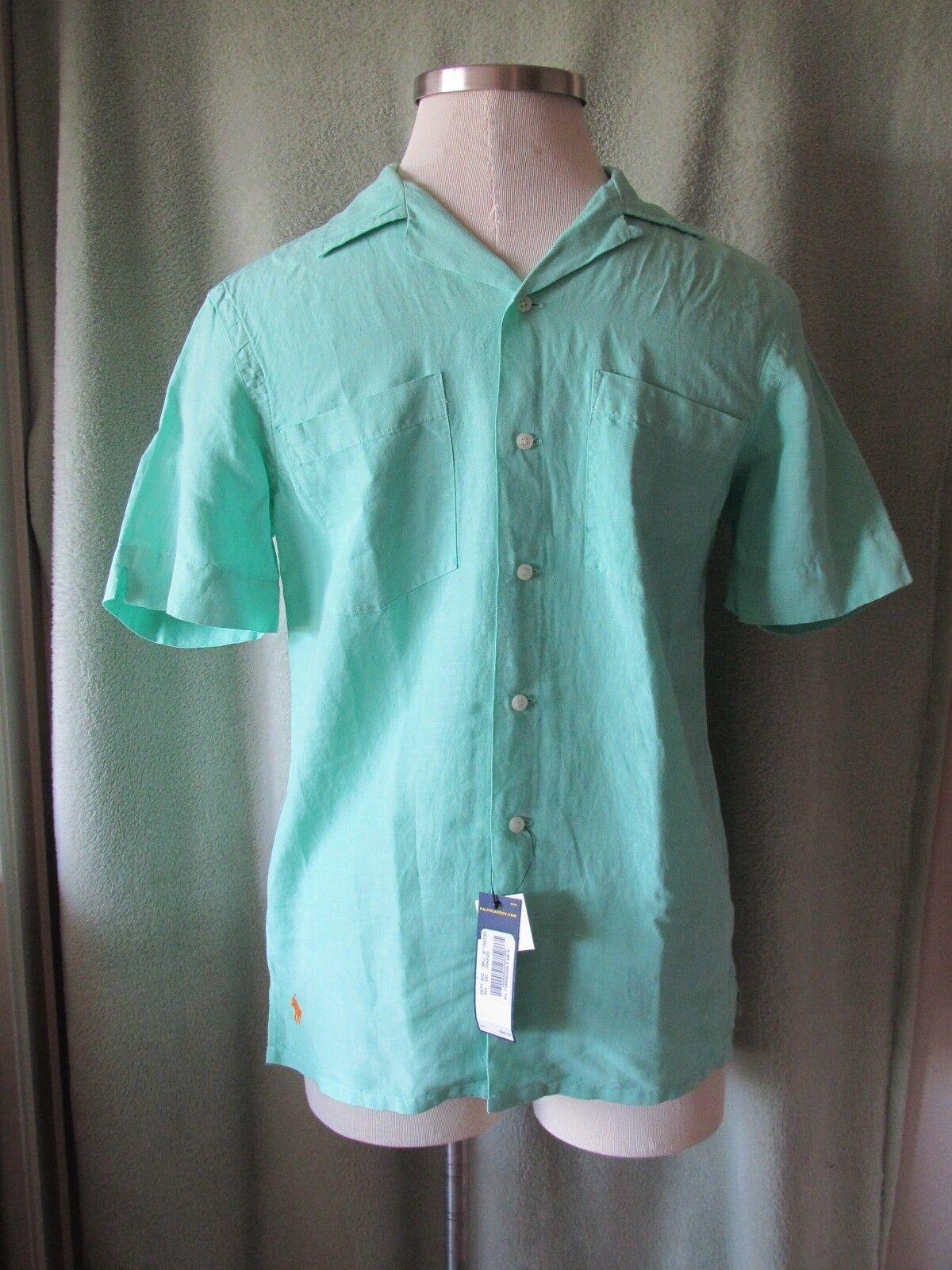 Men's Ralph Lauren Light Green 66% Linen 34% Silk SS Casual Shirt NWT  S