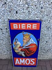 +++++ ANCIENNE PLAQUE EMAILLEE BIERE BRASSERIE AMOS +++++