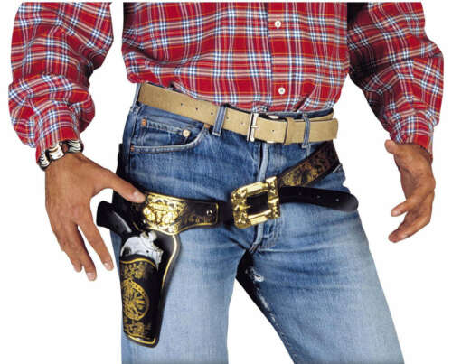 Zubehör Accessoire Karneval Fasching Cowboy Pistolen Holster Deluxe NEU