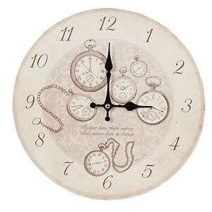 Wanduhr Nostalgie Antik Stil Uhr Beige Retro Look Uhren Holz Mdf