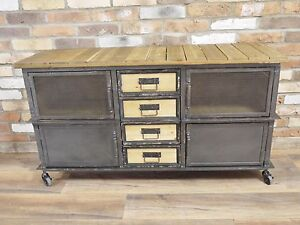 Image is loading INDUSTRIAL-RETRO-VINTAGE-RECLAIMED-METAL-WOOD-SIDEBOARD- CABINET- & INDUSTRIAL RETRO VINTAGE RECLAIMED METAL WOOD SIDEBOARD CABINET ...