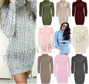 WOMENS-LADIES-LONG-SLEEVE-COWL-POLO-NECK-CABLE-KNITTED-JUMPER-MIMI-DRESS-TOP