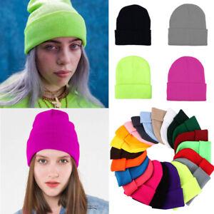 Beanie Hat Mens Solid Plain Knit Ski Cap Warm Slouchy Skull Winter Cuff  Caps