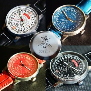 RARE-USSR-RAKETA-ANTARCTICA-ANTARCTIDA-Polar-24H-Wristwatch-Rocket-NOS