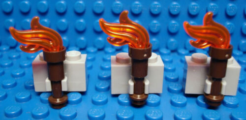 Set of 6 NEW Castle Torch Holder DBG Brick with Clip and Flame LEGO LEGOS