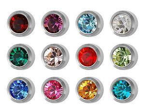 Studex-Ear-Piercing-Stainless-Steel-Stud-Earrings-4mm-Bezel-Setting-Birthstones