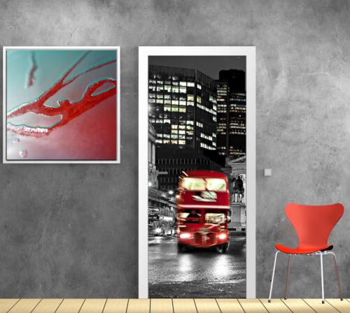 Stickers pour porte trompe l/'oeil déco Londres bus design réf 755