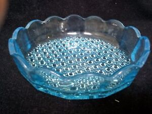 "Careful Davidson Glass Hobnail Blue Art Glass Bowl Turquoise 8.5 "" Across Rare Pottery, Porcelain & Glass"