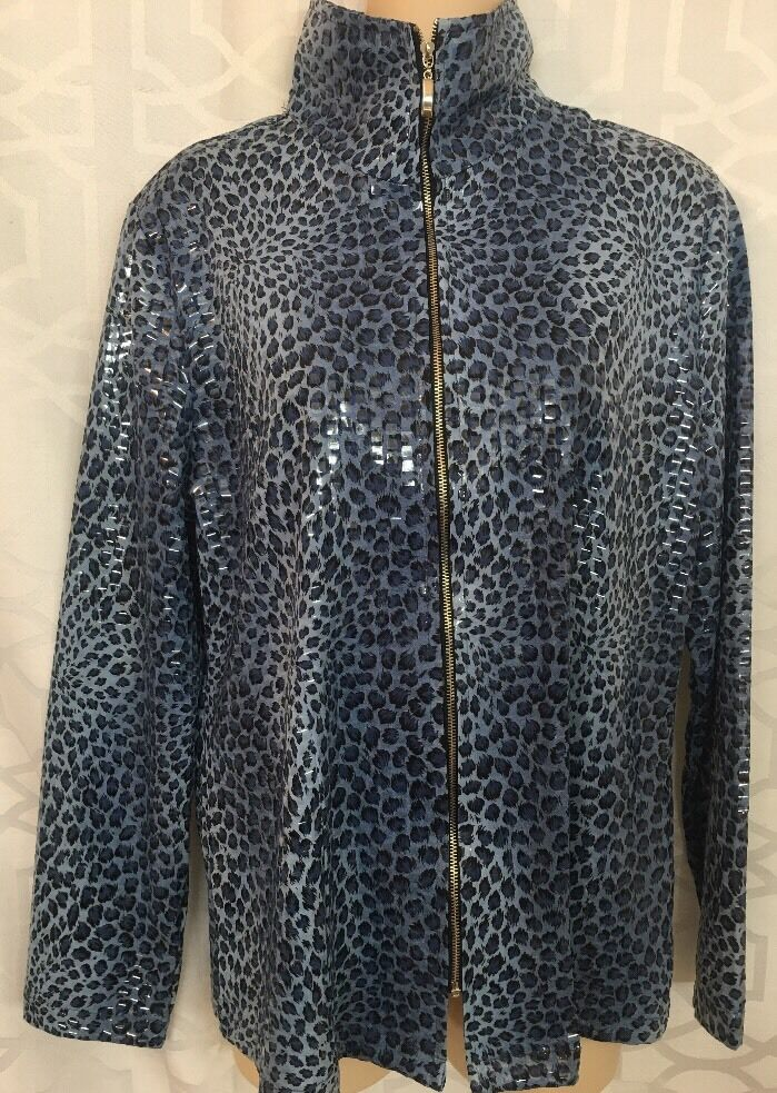 Misook Cardigan bluee Print Clear Pyettes Zip Up Size S