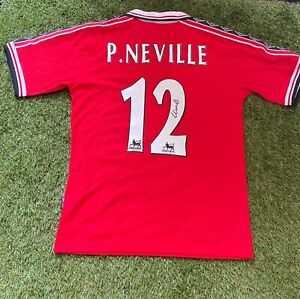 PHIL NEVILLE - SIGNED Manchester United 1999 Treble Shirt + COA **EXACT PROOF**