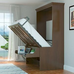 Details About Urban Loft Coventry Queen Murphy Wall Bed Easy Install Walnut W Desk