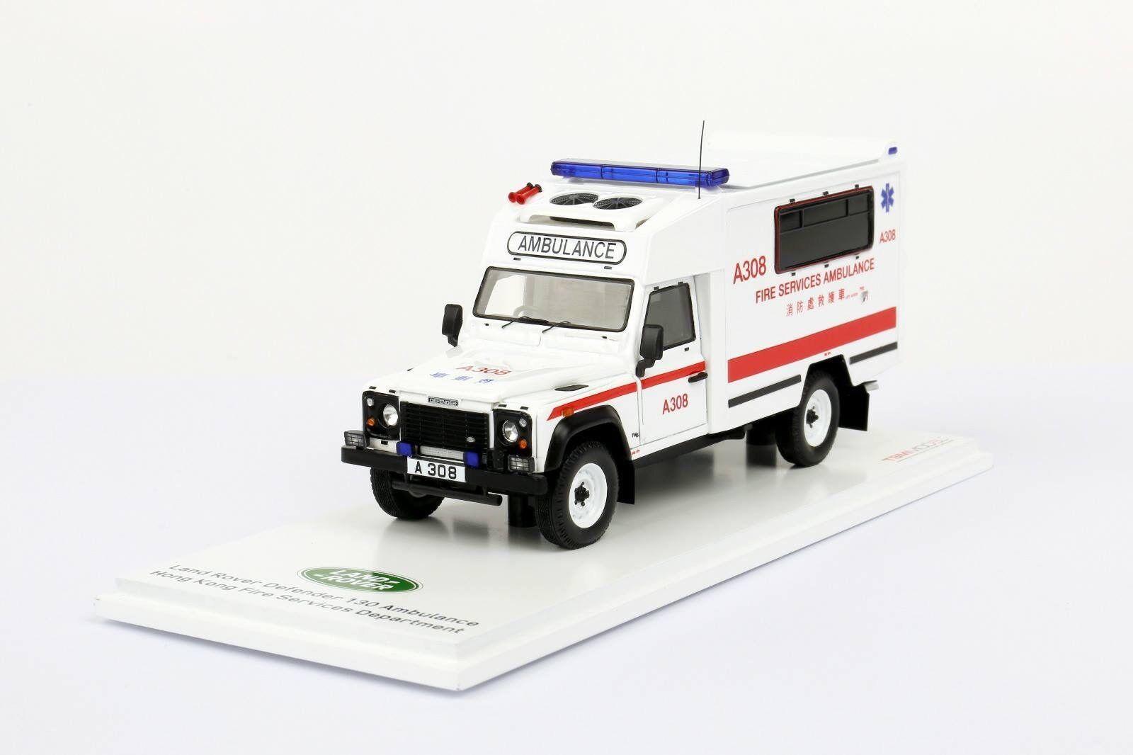 1 43 TSM Model  TSM430291 Land Rover Defender 130 Ambulance HK Fire Service