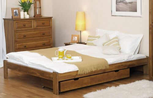 Wooden Pine Wood Bed Frame Small Double Size 140x200 Oak Furniture with Slats