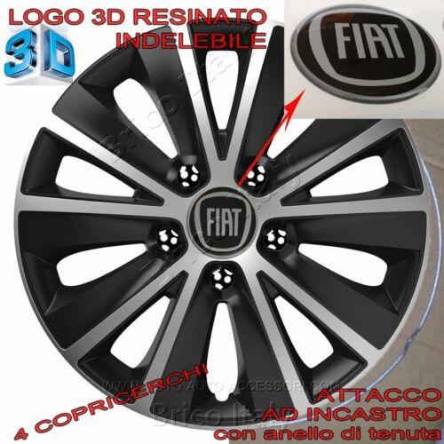 "set 4 Copricerchi new Raptor 14/"" Logo resinato 3D Nero per Fiat Nuova Panda"