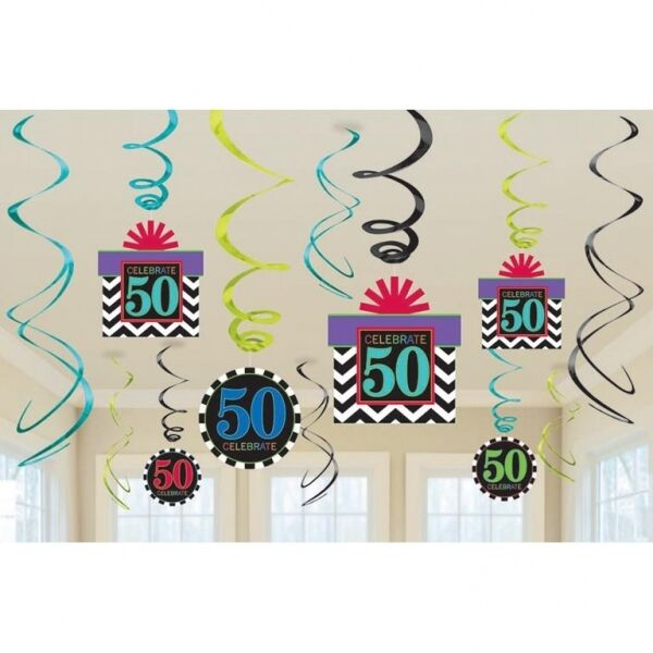 Amscan 50th Birthday Metallic Swirl Decorations Chevron Design 12 Pack