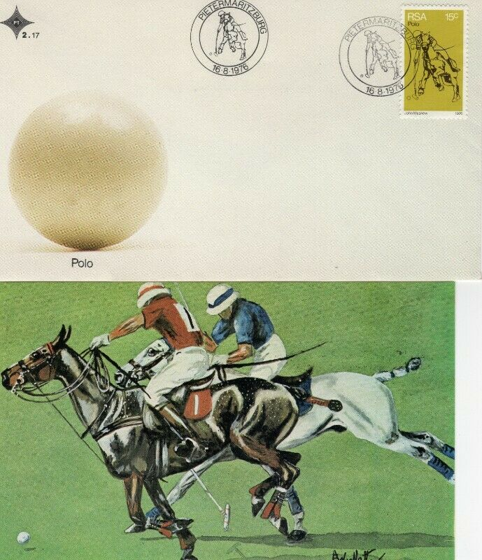 Commemorative Stamp & Envelope Set - History of Polo in South Africa 1976