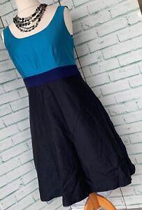 BODEN-Turquoise-Silk-Blend-Party-Dress-Sz-12-UK-With-Net-Underskirt-Evening-b7