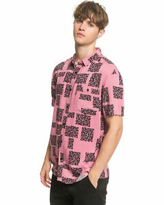 NEW-QUIKSILVER-Mens-Fluid-Geo-Short-Sleeve-Shirt-Tops