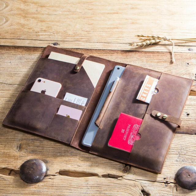 Crazy-Horse Leather Portfolio Vintage Padfolio Case for Ipad pro 9.7