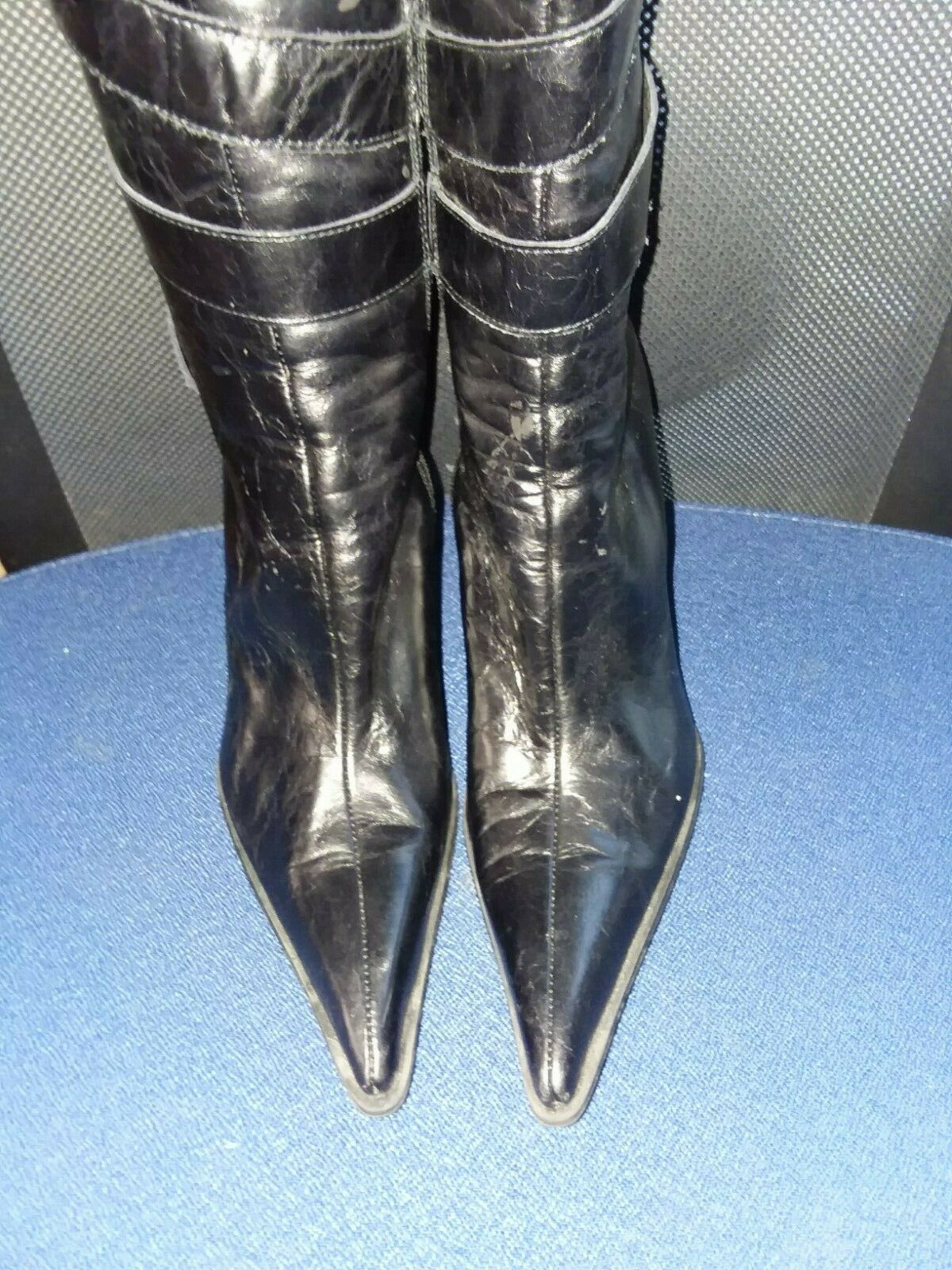 Bebe Womens 100% Genuine Leather Tall Tall Tall Heeled Pointy Boots Black Stiletto Sz 7.5 634c89