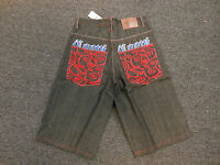 Coogi Men's Black Denim Jean Shorts Blue Coogi Red Pocket Design $125 Retail