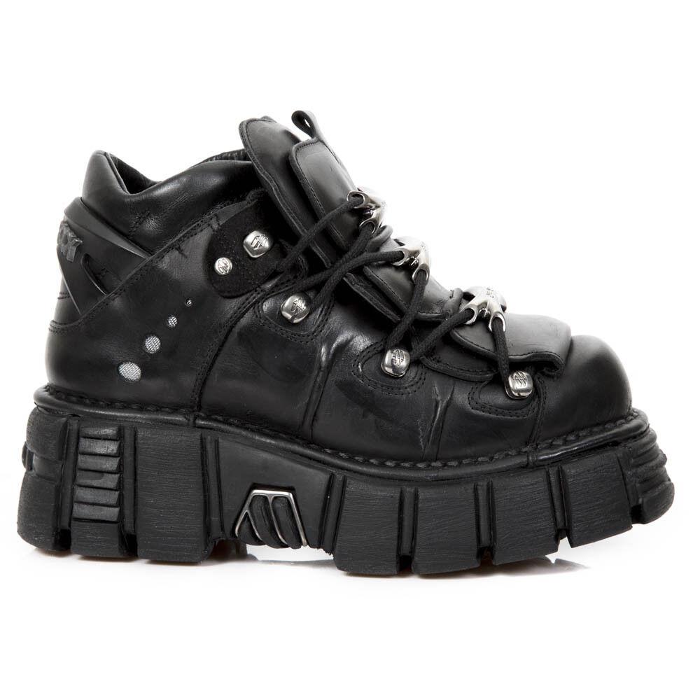 New Rock Nr M.106 S43 Negro-botas, Metálico, Unisex